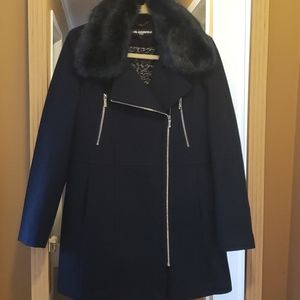 Karl Lagerfeld Paris Navy Woo Blend Winter Coat